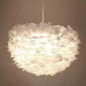 Image 5 - לופט מודרני לבן טבע אווז נוצת תליון אורות רומנטי E27 led תליון מנורות לבית מסעדת חדר שינה סלון