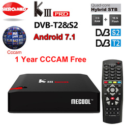 DVB-T2 DVB-S2 KIII PRO 3+16GB Android 7.1 Tv Box with 1 year Europe cline free Arabic French US UK Italy Africa European server