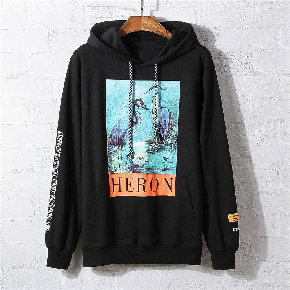 a75923eb2e733 Relaxed Fit Text Print Heron Birds Hoodie Autumn Hiphop Fleece Sweatshirt  Hiphop Streetwear. US  25.43. Best Version ...