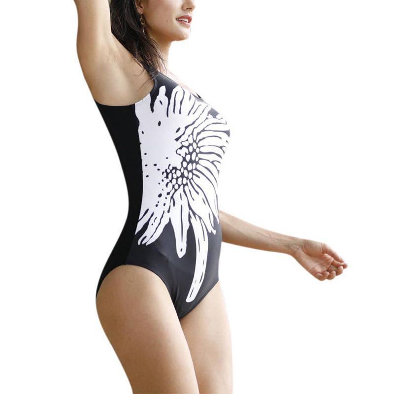 Women Swimsuit Soft Cup Striped Print Swimming Suit U-Shaped Back Swimsuit One Piece Monokini Push Up New Sports Sexy Swimwear