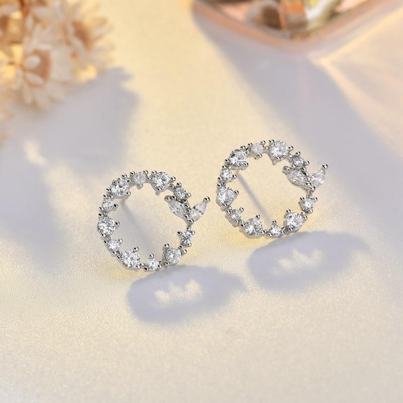 Classic AAA CZ Zircon Round Circle Small Stud Earrings For Women Girls Bijoux Fashion Jewelry Free Gift Box