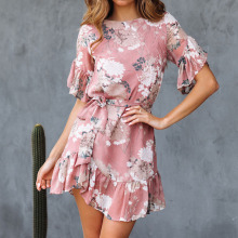 Women's O-Neck Stylish Floral Printed Dress