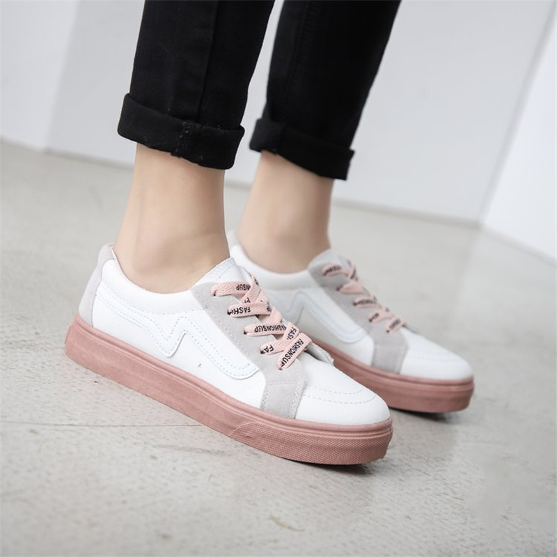2019 Summer Woman Sneakers White Black Zapatillas Mujer Shoes Woman Fashion Flat Ladies Vulcanized Sneakers in Women 39 s Vulcanize Shoes from Shoes