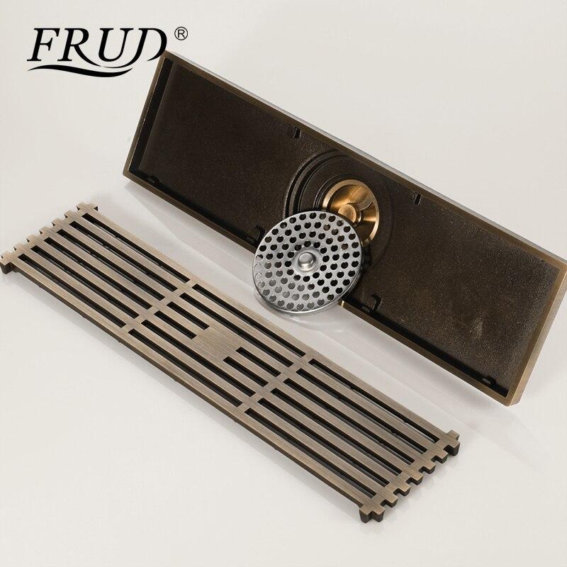 FRUD nouveau Drain Antique en laiton salle de bains douche linéaire 8.2*30 cm plancher Drain couverture douche égouttoir salle de bains accessoires Y38073 - 3