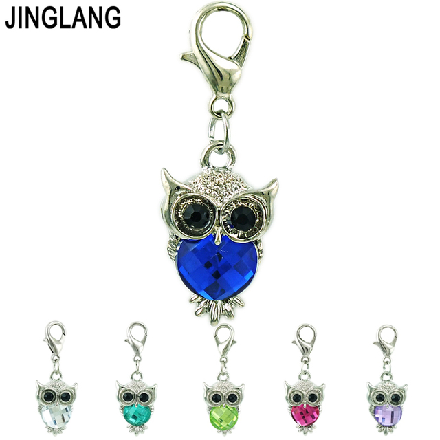 JINGLANG Wholesale Price Owl Lobster Clasp Charms Plastic Crystal Animal Pendants DIY Charms For Jewelry Making Accessories