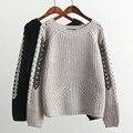 Осень зима повязку случайные свободные трикотажные свитера шелковая лента О-Образным Вырезом пуловеры потяните femme длинным рукавом тонкий перемычка теплый трикотаж