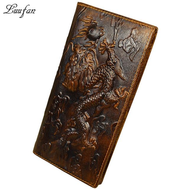 Wallet Brown Chain Phone-Pocket Long-Purse Dragon Genuine-Leather Cowhide Long-Bifold