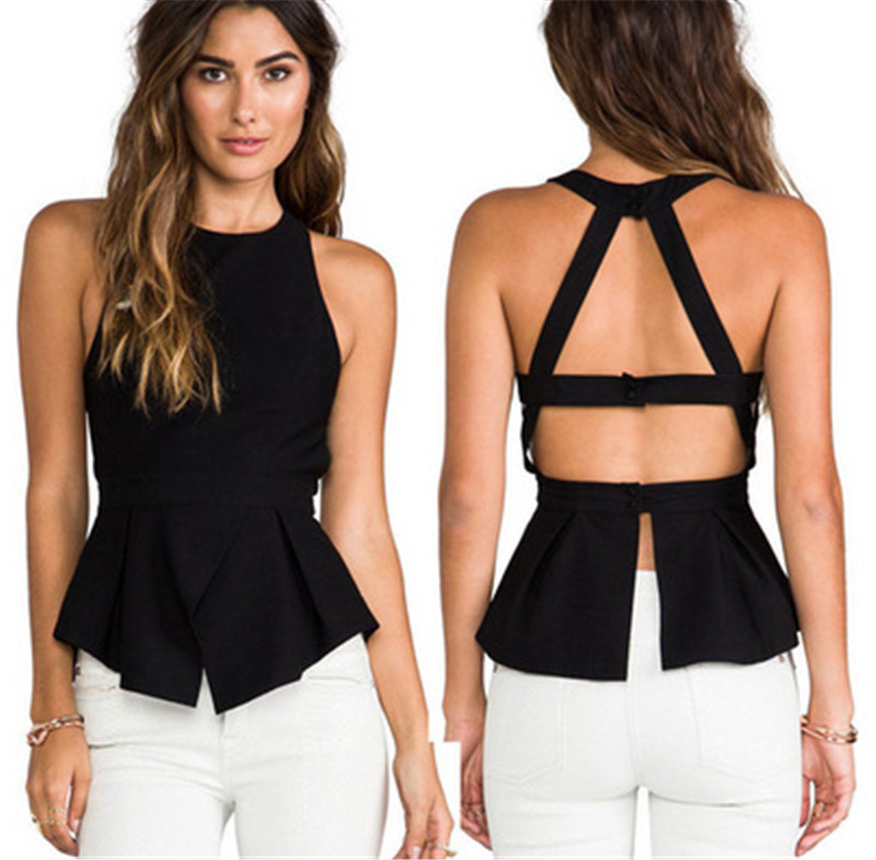 Crop Top Stylish Lady Women's Sleeveless O neck Party Leisure Chiffon Blouse Tank Top Black Top Women Gothic Tank Top Plus Size