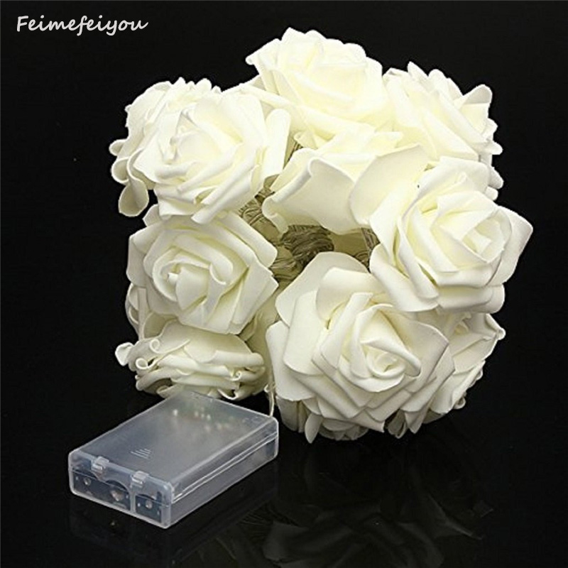 Feimefeiyou 5m 50 LED Rose Flower LED String Lights Battery Operated Event Wedding Birthday Party indoor Decoration Lightings ...