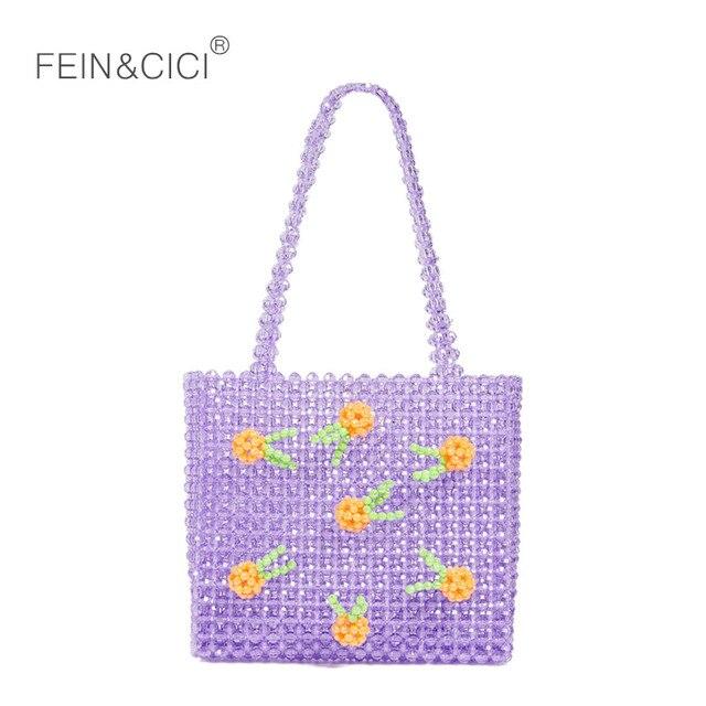 Perlas de acrílico caja con cuentas Bolsa De noche mujer fiesta bolso Verano de 2018 bolsa de marca de lujo blanco púrpura envío de la gota