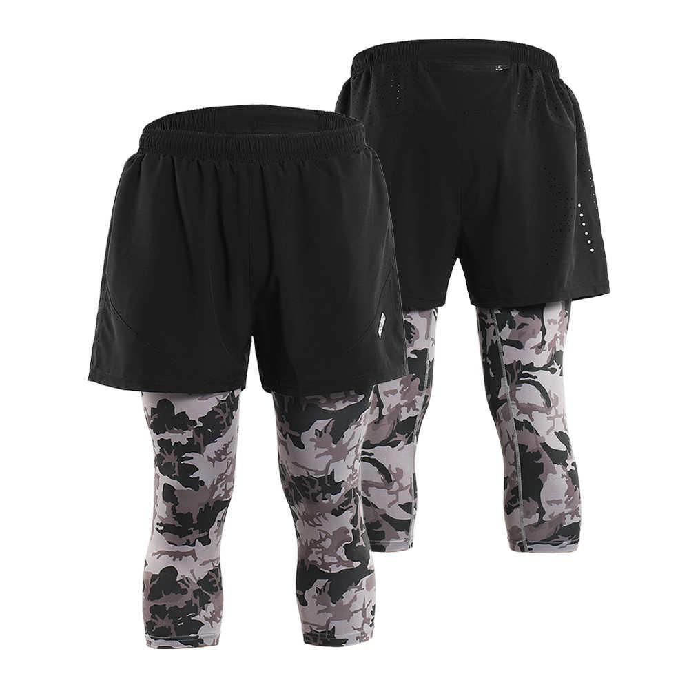 Arsuexo Для мужчин 2 в 1 работает Капри дышащий Активный тренировки шорты леггинсы теннис; Бейсбол Брюки с карманами