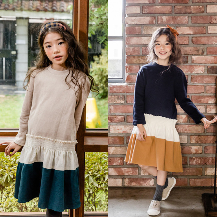 Children Dresses Girls Winter Autumn Big Girls 2018 Patchwork Korean Dresses Spring Kids Dress Clothes Princess Baby Clothes baby girl dresses autumn baby girls clothes princess girls dress bow patchwork kids clothes children party dresses