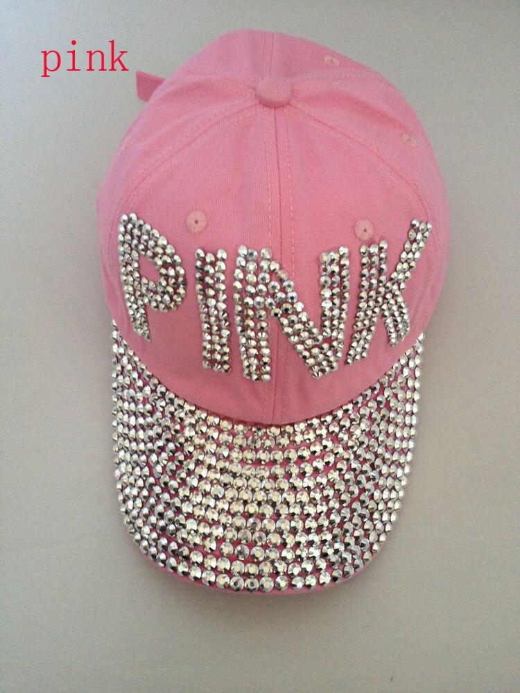 Prix pour Gros coton femmes rose diamant casquette de baseball strass chapeau snapback cap diamant chapeau strass chapeau 1 pcs/lote livraison gratuite