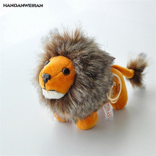 HANDANWEIRAN 1Pcs Kawaii 9CM Lovely Lion Plush Stuffed Toys Standing Lion Pendants Keychain Plush Toy For Kid's Gifts PP Cotton