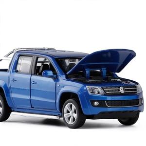 Image 4 - Simulatie 1:30 Amarok 4 open deur pickup truck model, metalen geluid en licht terug naar kinderen gift speelgoed model auto, gratis verzending