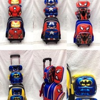 3pcs/set Primary School Trolley Bags Captain America Spiderman Batman Children Anime Backpack Schoolbag Child with Wheels 16
