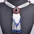 New Arrival Turkish Tassel Beads Pendant Necklace Women Africa Antique Gold Resin Ethnic Red Blue Sweater Dress Joyas Collar