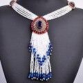 Nueva Llegada Turco Perlas Borla Colgante Collar de la Mujer de África Oro Antiguo Resina Étnico Rojo Azul Vestido de Suéter Collar de Joyas