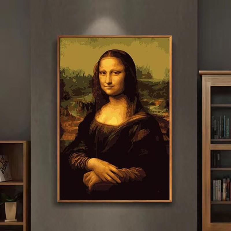 Pintura por números arte da pintura por número Diy pintura Famosa Mona Lisa mão-cheia de cor pintura decoração pintando óleo