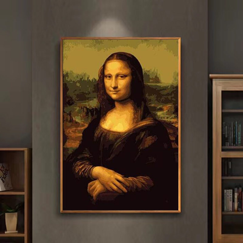 painting by numbers art paint by number Diy Famous painting Mona Lisa hand-filled color decoration painting oil paintin image
