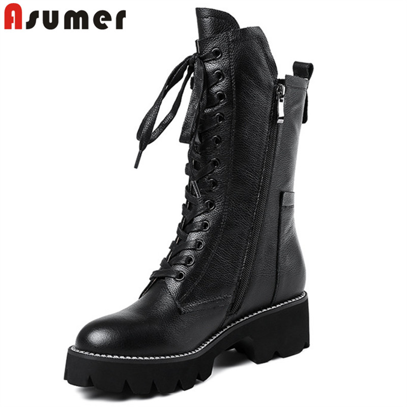ASUMER black fashion autumn winter boots zip cross tied mid calf boots square heel classic ladies genuine leather boots big size цена