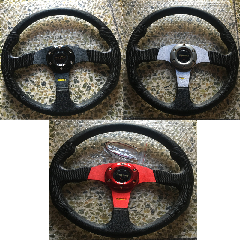 JQTUNING Universal 350mm 14inch Spokes Momo Racing MOMO Steering Wheel ABS With Horn Button Racing Steering Wheel Cover STW001 платье ципао momo cheongsam momo tobo