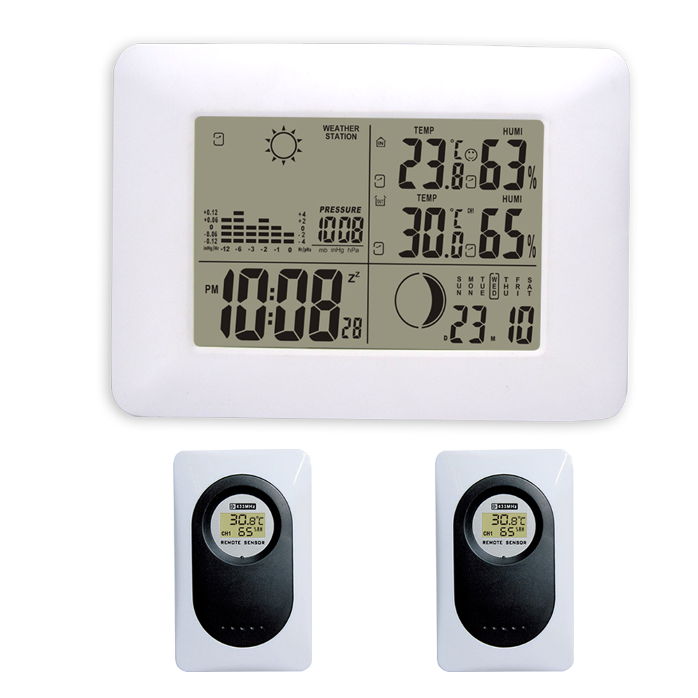2017 DYKIE White RF Digital Clock Wireless Weather Station with Blue Backlight Thermometer Hygrometer Barometer 2 Remote Sensors