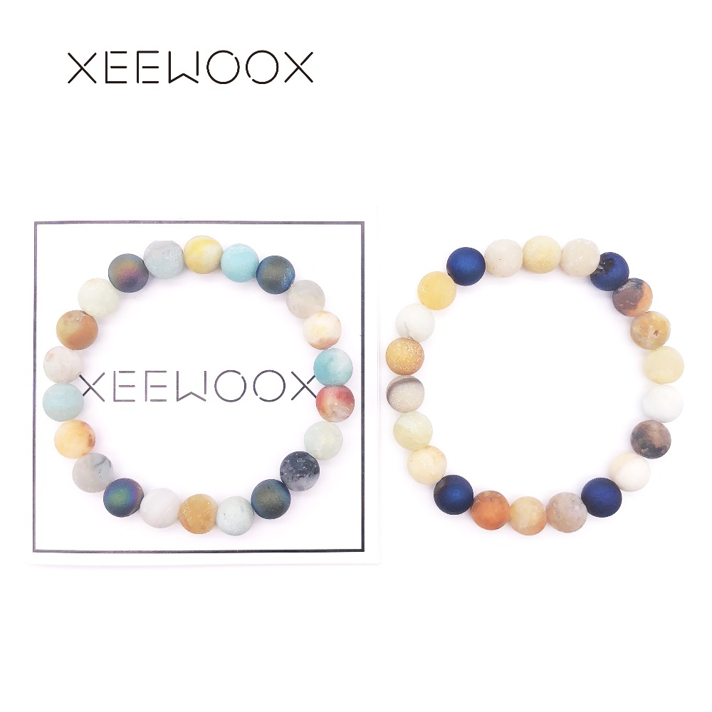Bohemia Colorful Beaded Bracelet Candy Color 2018 New Natural Stone Bracelet For Women Man Round Beads Bracelet Friendship Charm