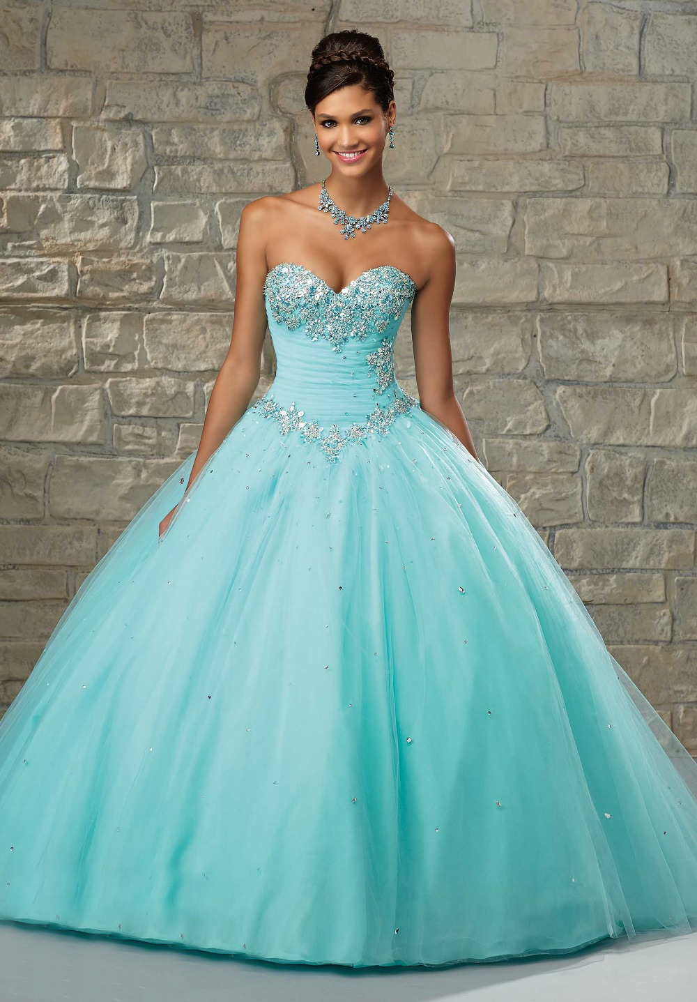 2017 Pink Princess Quinceanera Long Prom Dresses V neck Ball Gowns ...