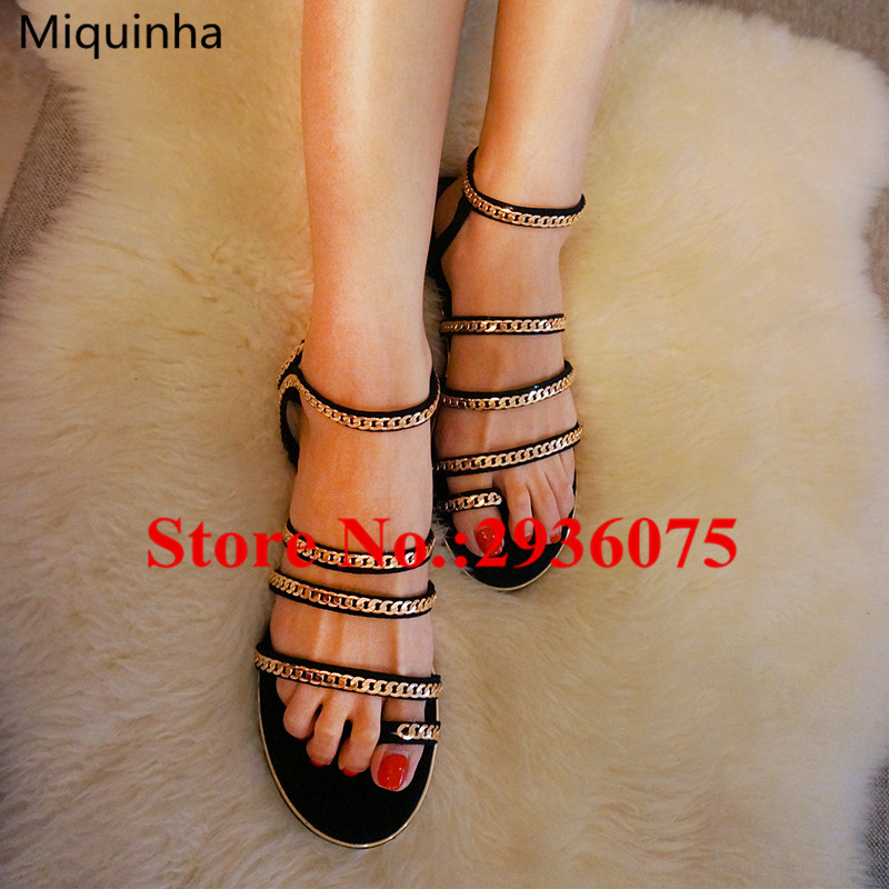Black Suede Leather Gold Chain Embellished Summer Rome Sandals Thong Buckle Flat Casual Sexy Gladiator Sandals Women Shoes Woman