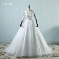 9091 2076 Lace White Ivory Lace Wedding Dresses For Bride Gown With 3 4 Sleeve Big