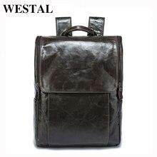 WESTAL Men Backpacks 100% Genuine Leather Men's Travel Bag Fashion Man Backpack Casual Business Backpack Male Backpack  9110