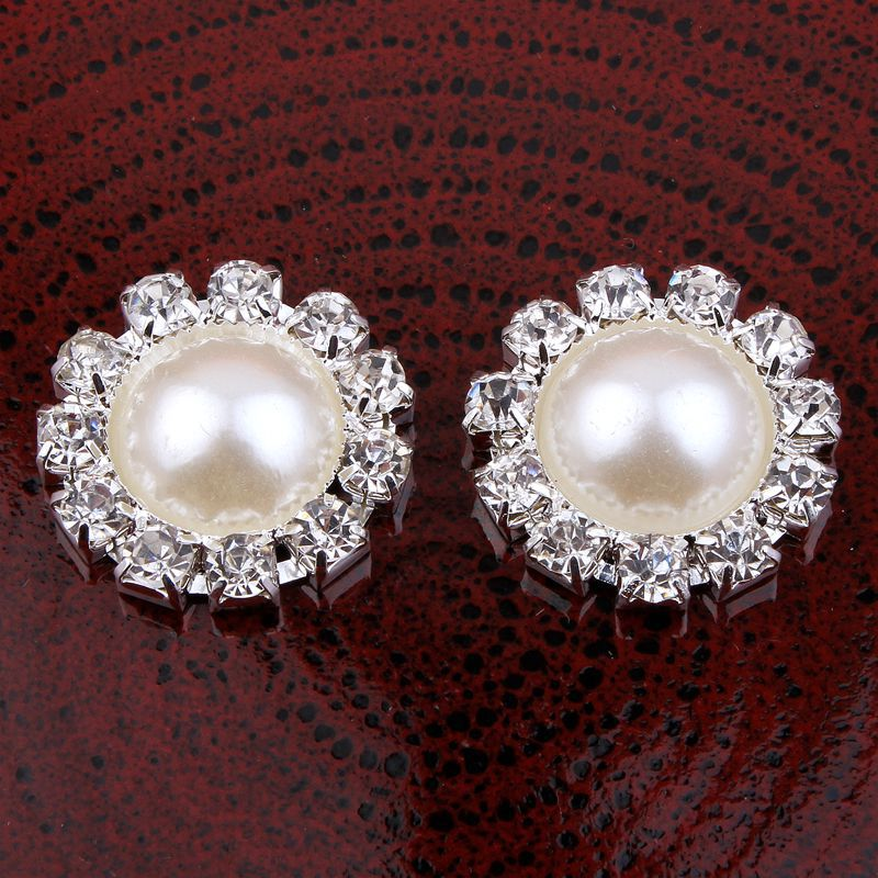 200pcs lot 20MM 2Colors Newborn Bling Round Flatback Half Pearl Metal Decorative Rhinestone Buttons For Girl