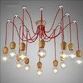 Cor de madeira lustres lâmpada E26/E27 soquete 6/10 pingentes de madeira de iluminação LED NÃO BLUB