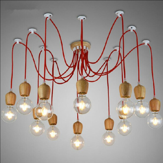 Vintage wood colorful chandelier e26e27 lampholder modern led vintage wood colorful chandelier e26e27 lampholder modern led pendant lamp nordic shop bar dining aloadofball Images