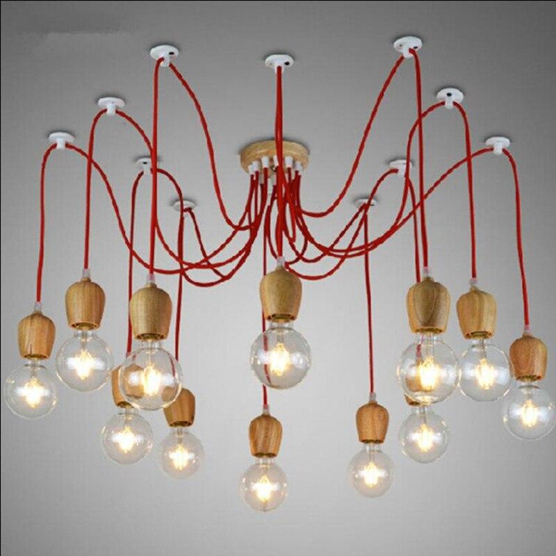 wood <font><b>color</b></font> chandeliers lamp E26/E27 lampholder <font><b>6</b></font>/10 wood pendants LED <font><b>lighting</b></font> NO BLUB