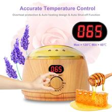 Wax Warmer Wooden Electric Paraffin Heater Pot Hair Removal Waxing Kit with LCD Display 4 Flavor Beans Home Salon Spa