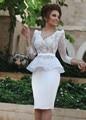 Renda branca Peplum Vestidos De Noite Curtos 2016 Vestidos Formais 3/4 mangas Mãe da Noiva Vestidos De Baile de Gala robe de sarau