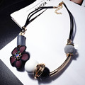 Claretred flower necklace fashion elegant vintage chain geometry wood short design accessories pendant accessories female