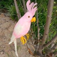 Large 45cm Macaw Bird Model Foam Feathers Simulation Pink Parrot Bird Handicraft Home Garden Decoration Gift
