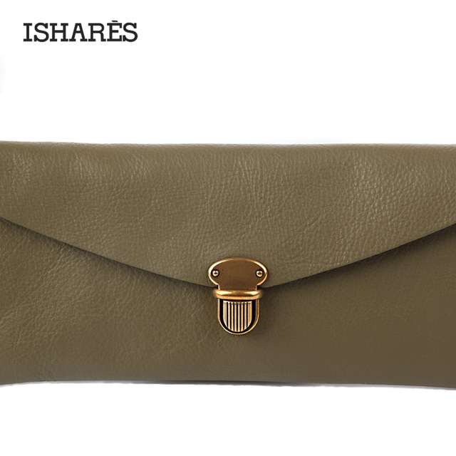 ISHARES Solid Genuine Leather Clamshell Envelope Bag Cow Leather Day Clutches Purse Retro Classic Women Fashion Wallet IS6100