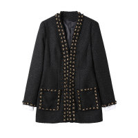 New Fashion 2017 Fall Winter Designer Jacket Women S Long Sleeve Weave Tweed Wool Coat Outer