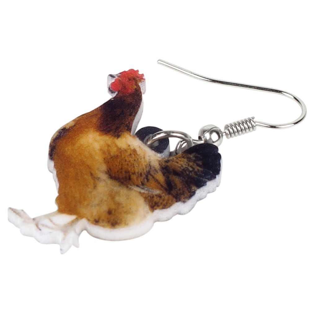 WEVENI อะคริลิคดอกไม้ไก่ไก่ต่างหูใหญ่ยาว Dangle Drop Novelty ฟาร์มไก่เครื่องประดับสำหรับหญิงการ์ตูนสัตว์ Charms