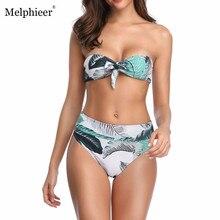 Melphieer Sexy Bikinis Leaf Push Up Bikini 2019 Hot Padded Strapless High Waist Swimsuit Bow Tie Swimwear Women Print Biquini XL
