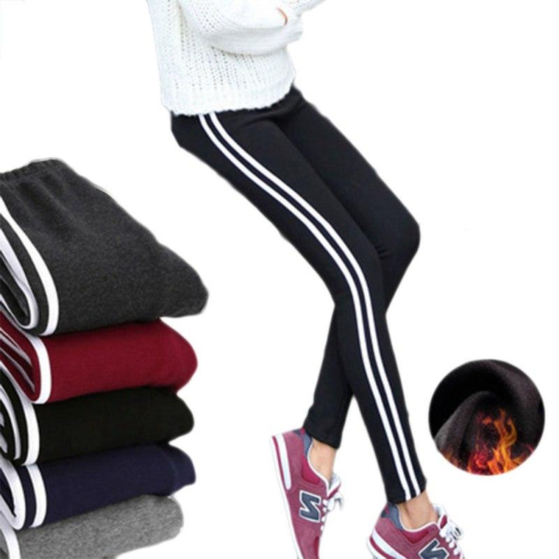 New Arrival 2 Kinds Women Autumn Winter Activewear Legging Pants Girls Elastic Mid Waist Side Stripe Pencil Pants Hot