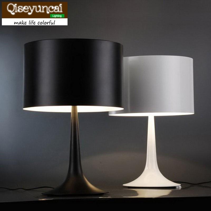 Qiseyuncai creative bedroom bedside table lamp Nordic study desk light decorative table lighting white/black