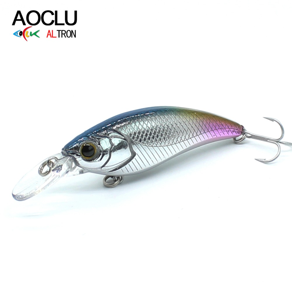 AOCLU Minnow Fishing Wobbler Hard-Bait 60mm Tackle Lures-Bass Water-Vmc-Hooks 6-Colors