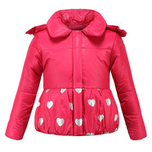 Girls Winter Jackets 3-8 Years Fashion Parka Coats Winter Warm Jacket For Girls Hooded Snowsuit For Children(China)