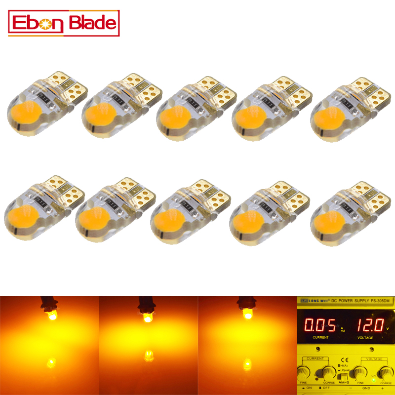 10Pcs Silicone W5W T10 LED Amber W5W COB 2W LED Bulbs For Car Parking Position Turn Signal Indicator Side Marker Light 12V DC 4pcs black led front fender flares turn signal light car led side marker lamp for jeep wrangler jk 2007 2015 amber accessories
