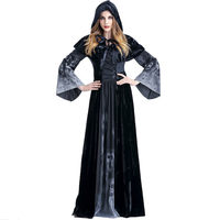 Adult Womens Halloween Scary Witch Cosplay Hoodies Costumes Female Vampire God Of Death Grim Reaper Long Dress Party Costumes